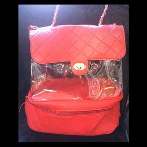 Handbags - Beautiful clear n red bag backpack 🎒 just lovely